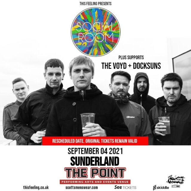 We are excited to announce that The Voyd and Docksuns will support Social Room at the Point on Saturday 04th September 2021. @thisfeelinghq @scottsmenswear @redstripelager tickets on sale now via www.skiddle.com