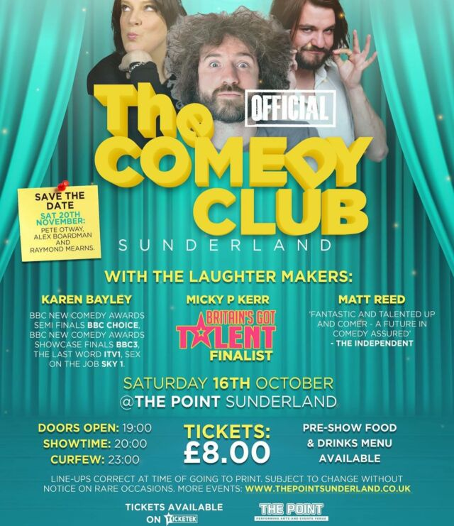 Who's up for a laugh? #comedyclub #comedy #sunderland SAT 16 OCT www.thepointsunderland.co.uk