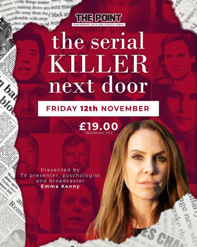 TV presenter, broadcaster and psychologist @emmakennytv is coming to the Point this November to give us an insight into most notably Britain's Darkest Taboos, Crime & Investigations…. #theserialkiller #serialkillers #serialkiller #serialkillernextdoor #emmakenny #sunderland #onpoint BOOK NOW: https://www.skiddle.com/whats-on/Sunderland/The-Point/The-Serial-Killer-Next-Door-/35877344/